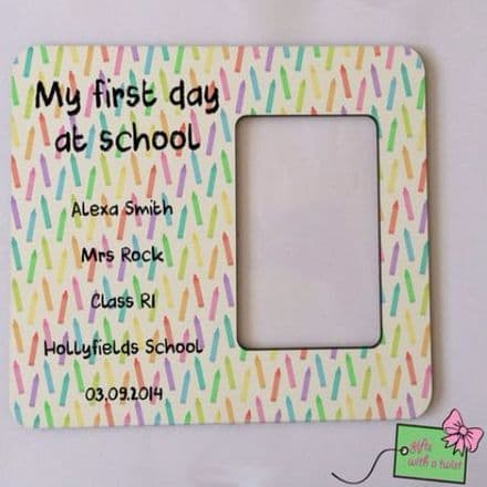 First day at school coloured pencils photo frame