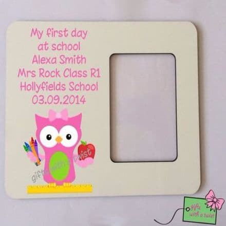First day at school pink owl photo frame