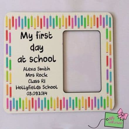 First day at school straight coloured pencils border photo frame