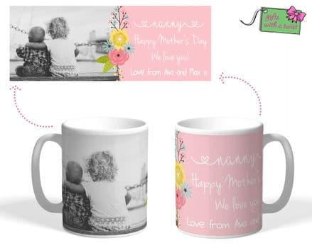 Flower themed photo mug