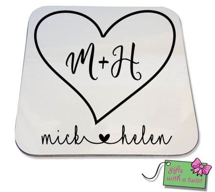 Hearts and initial coaster
