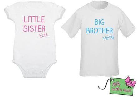 Matching sibling tshirt/bodysuit plain text