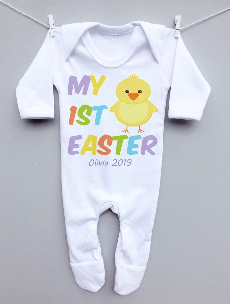 My 1st Easter chick sleepsuit