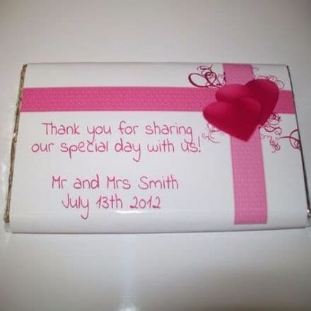 Pink hearts and bow 100g chocolate bar
