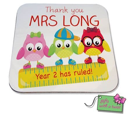 Printed owl year ruled teacher coaster
