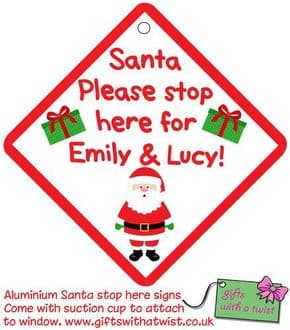 Santa stop here aluminium sign