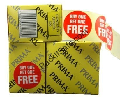 """2000 x /""""BUY ONE GET ONE FREE/"""" Red Shop Price Labels Stickers QUALITY 45mm PRIMA"""