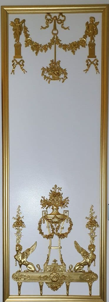 1 DECORATIVE ANTIQUE LOUIS XVI MARIE ANTOINETTE STYLE GILT OR  WHITE WALL PANELLING PANEL (No115)