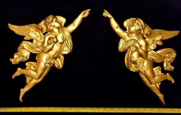 PAIR DECORATIVE MOULDING ANTIQUE ORNATE WALL OR FURNITURE DECORATION (No98)