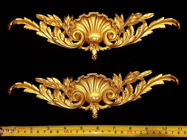 PAIR DECORATIVE MOULDING ANTIQUE ORNATE WALL OR FURNITURE DECORATION (No10)