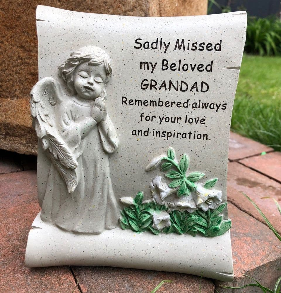 Beloved Grandad ~ Angel Scroll Graveside Memorial Ornament