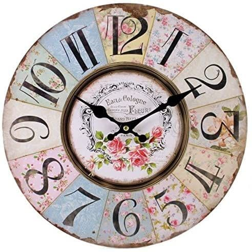 34 cm Patchwork Large Colourful Wooden Wall Clock