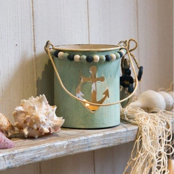 Beaded Metal Turquoise Anchor  Candle Holder Bucket Jar