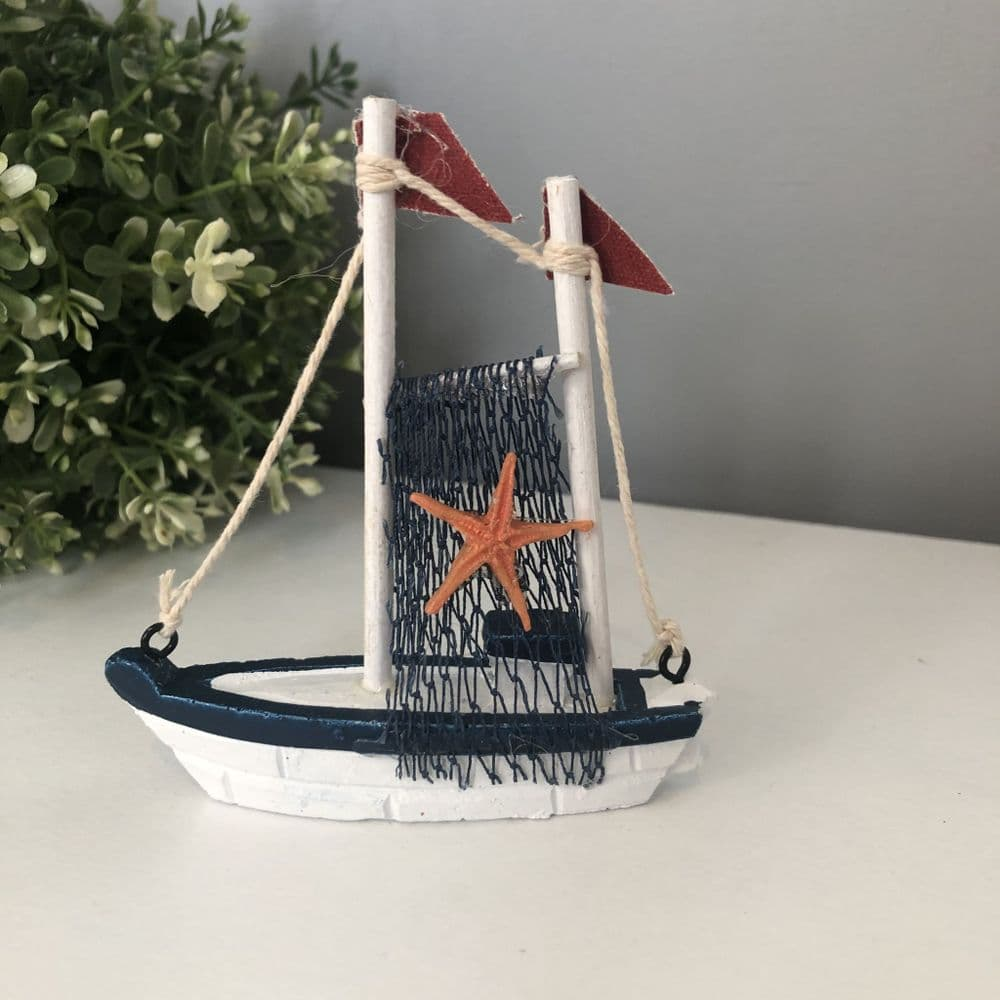 Blue & White Small Fishing Boat with Starfish Ornament H 10 cm