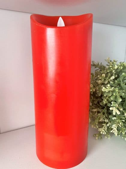 Bright Red Flickering Flame LED Wax Candle 22.5cm
