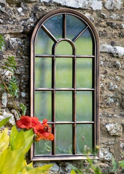 Brushed Copper/Bronze Arched Garden Mirror  H71 cm