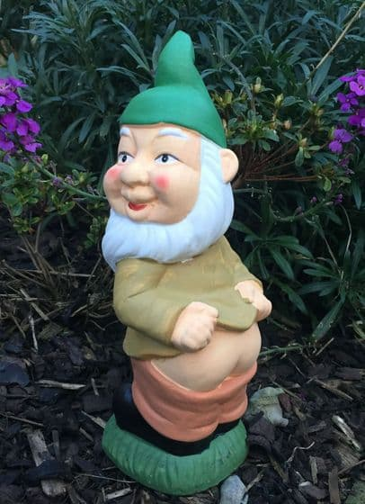Cheeky Mooning Hand Painted Gnome Garden with Green Hat