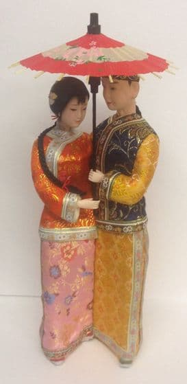 Chinese Man and Woman in Traditional embroidered clothing holding Sun Umbrella