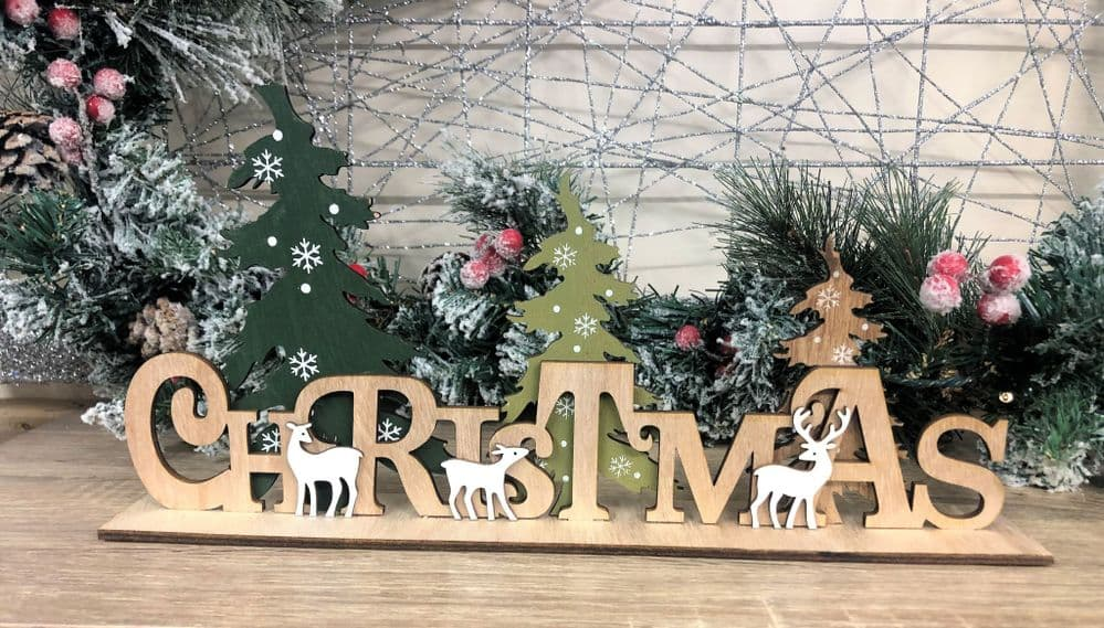 Christmas with Reindeer Wooden Christmas Sign