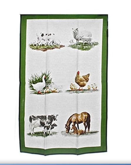 Farmyard Animals Green & White Tea Towel