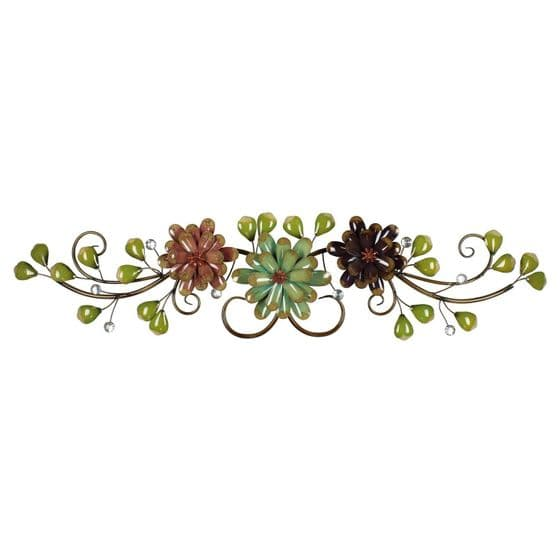 Flower and Leaf Spray ~ Colourful Floral Metal Wall Art Display
