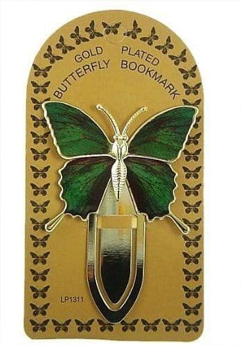 Gold Plated Green Colourful Butterfly Bookmark