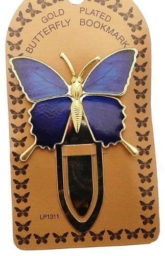 Gold Plated Royal Blue Colourful Butterfly Bookmark