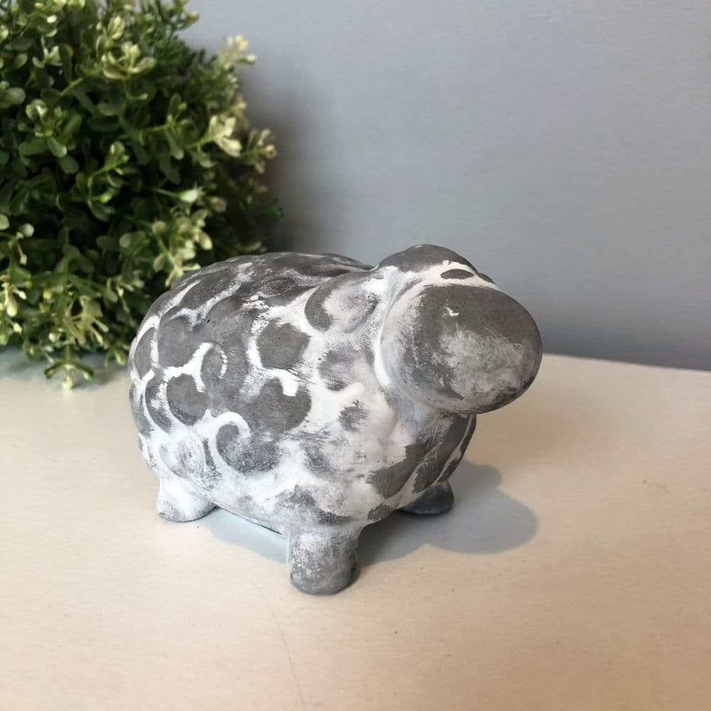 Grey Cement Sheep  Ornament 11 cm