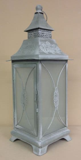 Grey Parisian Frosted Lantern 50 cm