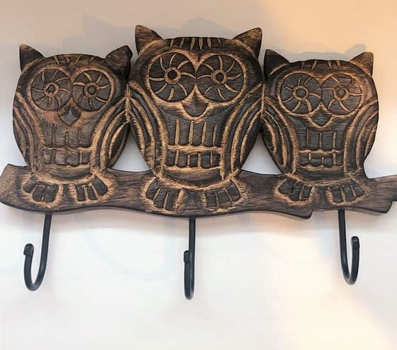 Hand Carved Dark Wood Owl Trio Wall Hooks 30 cm
