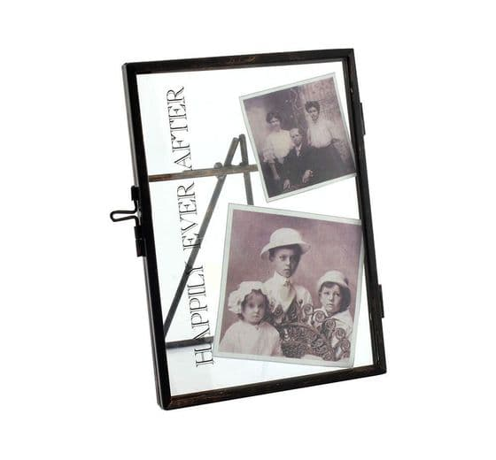 """Happily Ever After ~ 6 X 4"""" Vintage Black Metal and Glass Photo Clip Frame"""