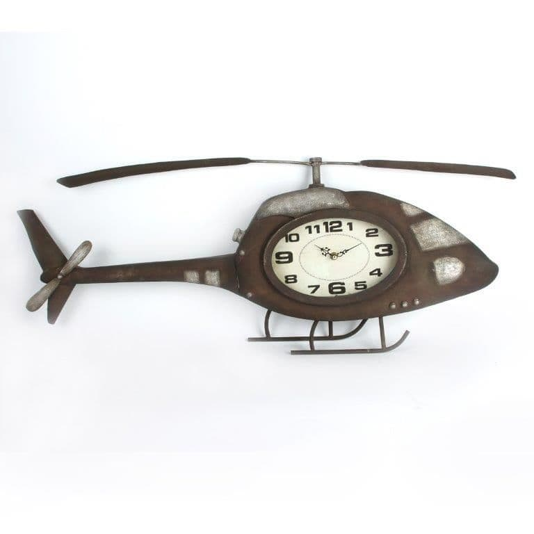 Helicopter Large Rustic Statement Metal Wall Art Clock