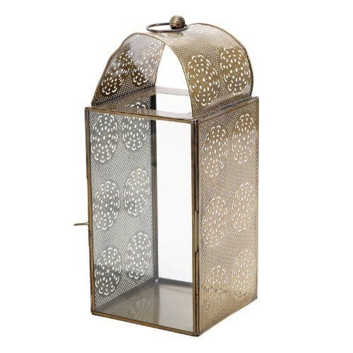 Iron and Glass Lantern with Cut Out Decoration 36 cm
