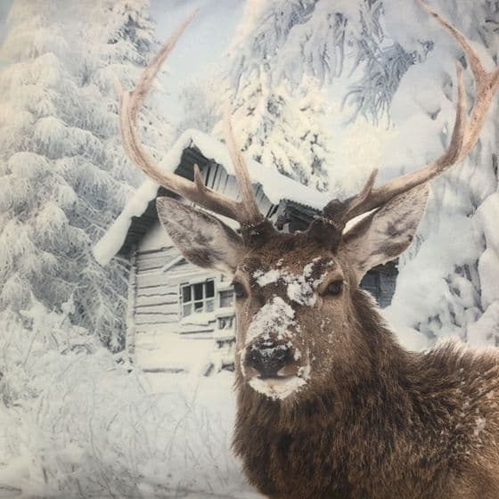 "Large 44cm | 18""  Winter Deer Stag Snow Cabin Scene Cushion (B)"