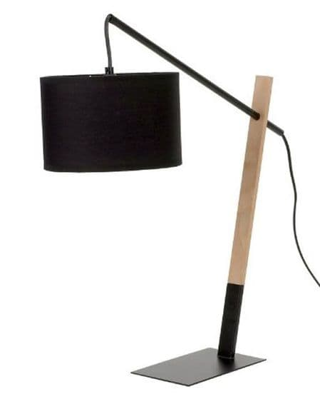 Large Modern Black Wood & Metal Contemporary Table Desk Lamp
