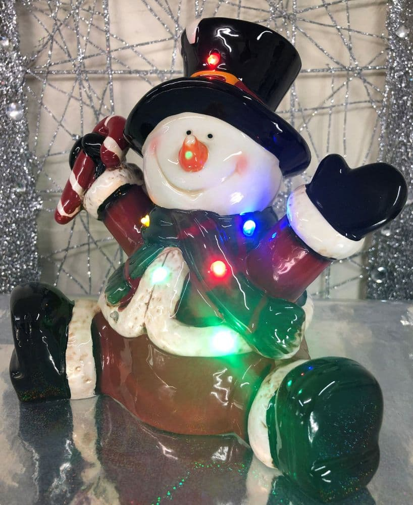 Large Sitting Ceramic Glazed Snowman Christmas Ornament with LED Lights & Optional Music