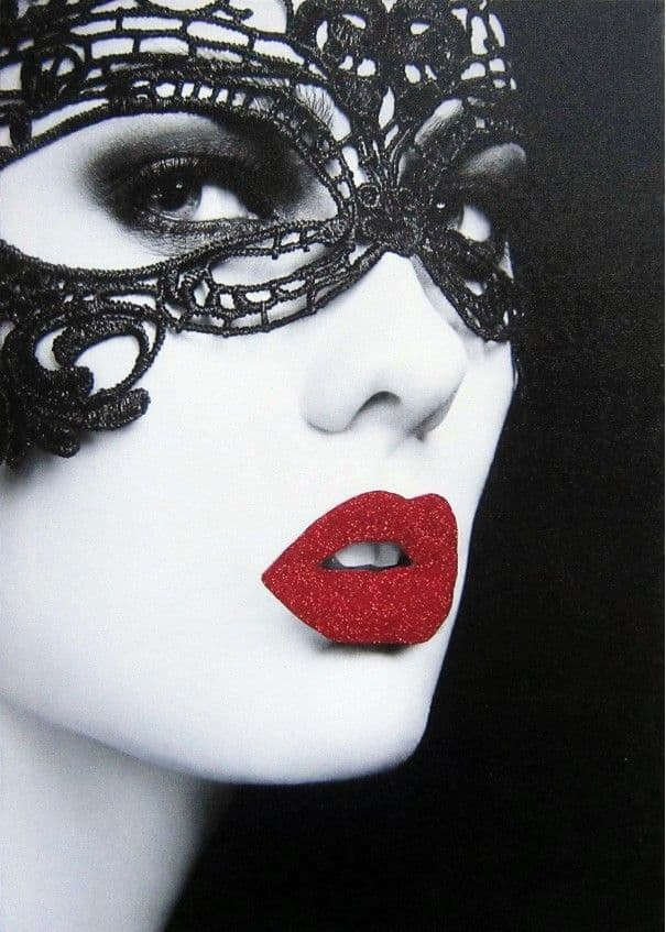 Masquerade Canvas | Masked Woman Red Glitter Lips