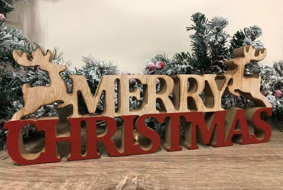 MERRY CHRISTMAS Rustic Chunky Wooden Cut Out Xmas Ornament with Reindeer