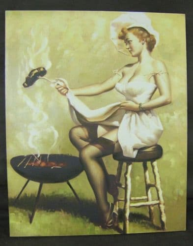 Oil on Canvas Retro Vintage Seductress Wall Art , BBQ Time