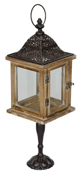 Ornate Metal Wood & Glass Candle Lantern on Stand