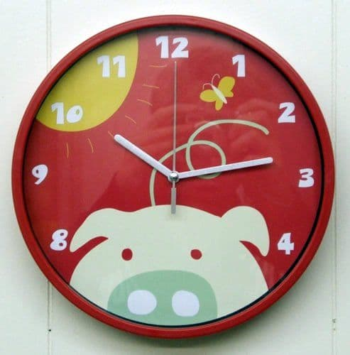 Pig Red Childrens Wall Clock