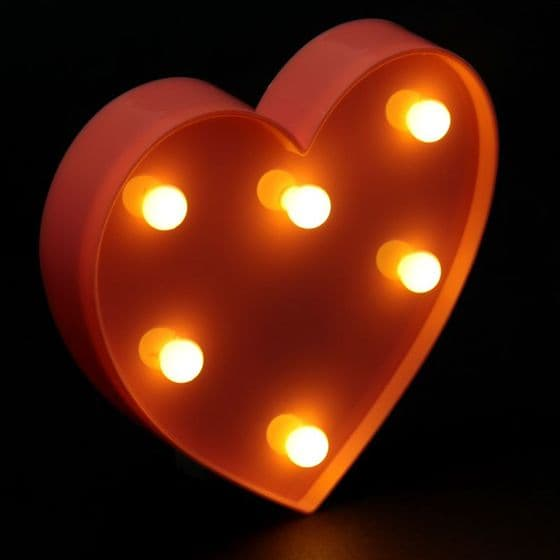 Pink Heart Circus Wall Art Light with LED's