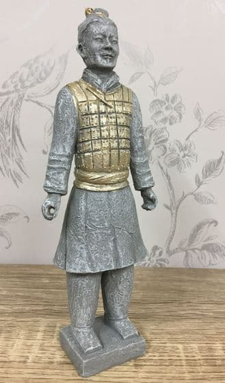 Resin Terracotta Warrior Figurine with Gold detail