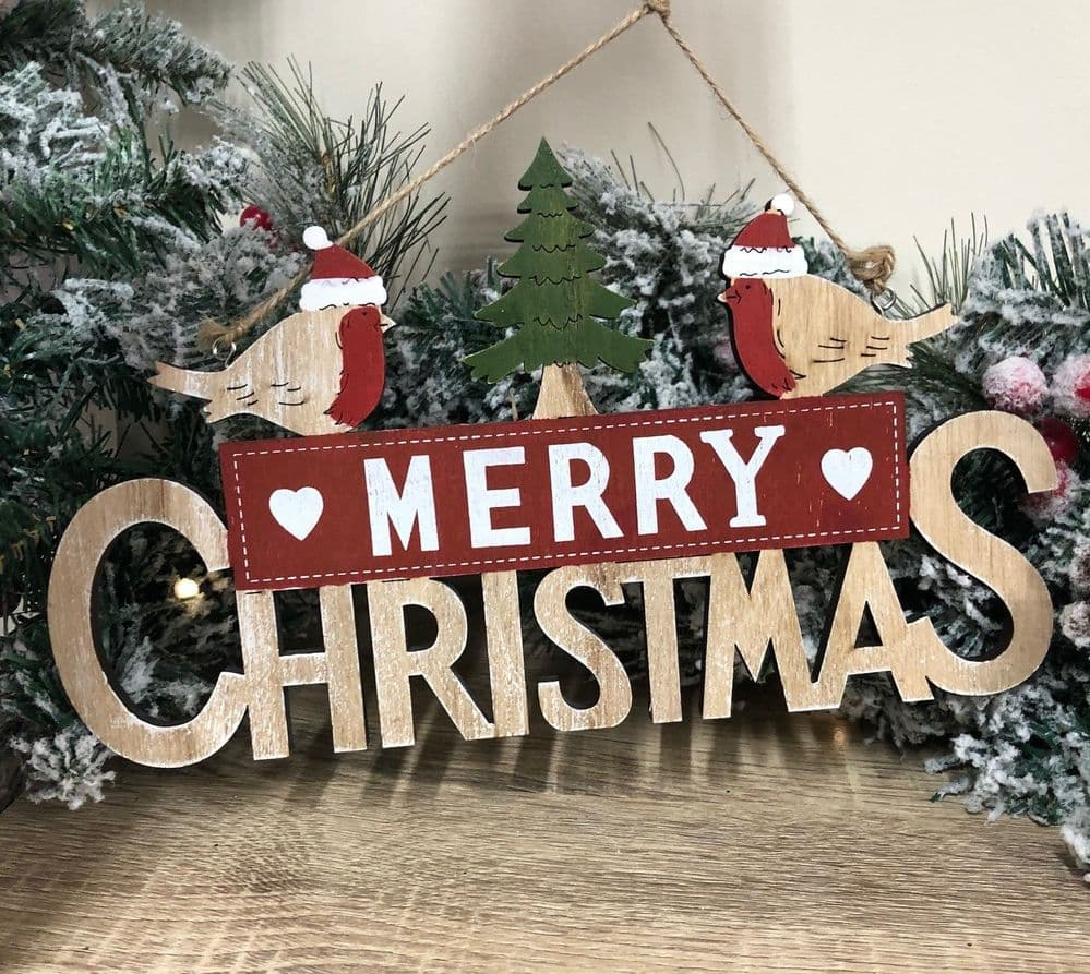Robin Merry Christmas Wooden Hanging Christmas Sign
