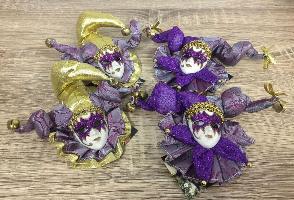 Set of 4 Jester Masquerade Wall or Tree Hanging Plaques with Bells ~ PURPLE & GOLD