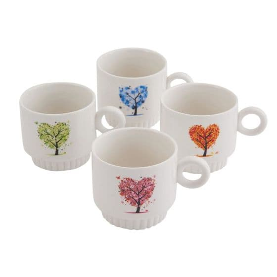 Set Of 4 Stacking Cups In Metal Holder - Tree Design