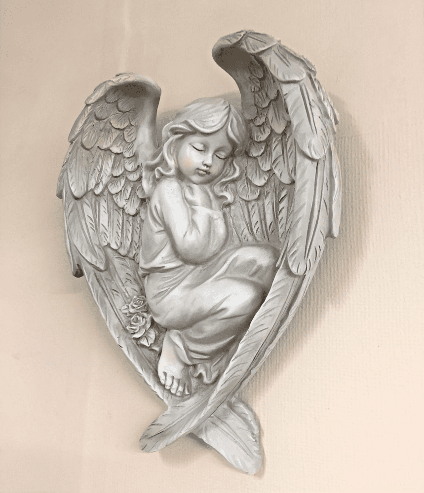 Sleeping Angel in Wings Decorative Ornamental Memorial Wall Hanging (A)