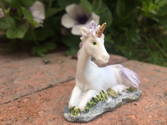 Small Lilac & White Magical Unicorn Fairy Garden Ornament