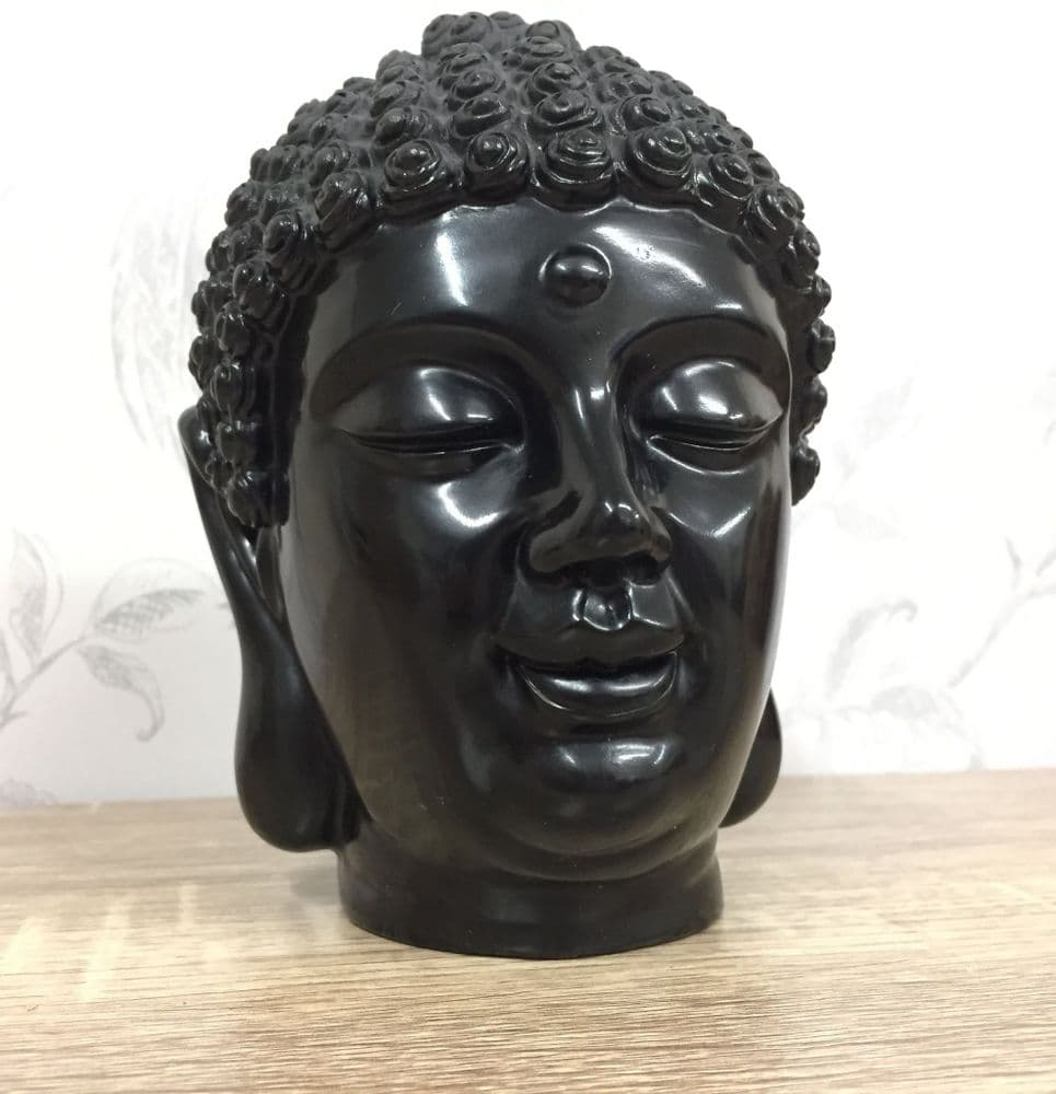 Solid Resin Black Thai Buddha Head Decorative Ornament