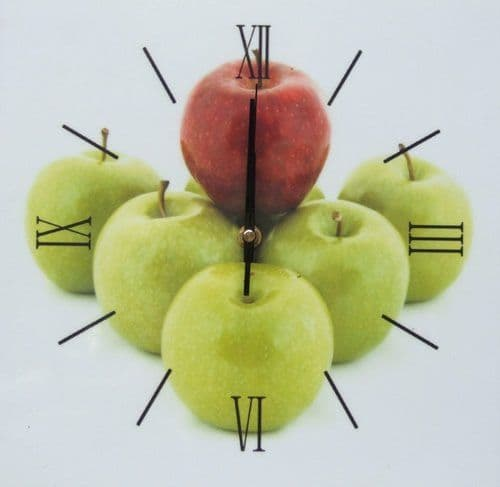 Square Kitchen Dining  Room Wall Clock  - Apples